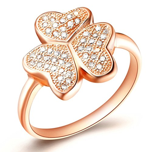 Shamrock Cluster (KnSam Women Rose Gold Plate Engagement Rings Shamrock Cluster Pave Size 8 Crystal [Novelty Rings])