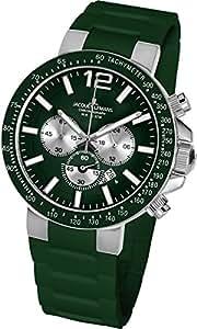 Jacques Lemans 1-1696E - Reloj cronógrafo de cuarzo para hombre con correa de silicona, color verde
