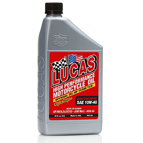 Lucas Oil (10710-6PK) Semi-Synthetic 10W-40 Motorcycle Oil - 1 Quart Bottle, (Pack of 6)