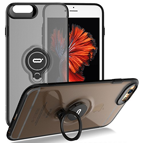 iPhone 6s / 6 Crystal Case with Ring Holder Kickstand Function, 360 Degree Rotating Ring Holder Grip Case Ultra Slim Thin Hard Cover for iPhone 6s / 6 (4.7 inches) (Black)