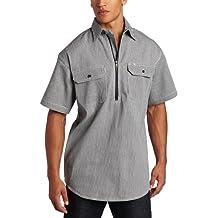 Key Apparel mens Short sleeve zip front hickory stripe logger shirt
