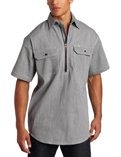 (Key Apparel Men's Short Sleeve Zip Front Hickory Stripe Logger Shirt, Hickory Stripe,)