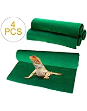 "Reptile Carpet 4pcs Terrarium Substrate Liner Pet Habitat Bedding Soft Green Mat for Bearded Dragon Lizards Gecko Chamelon Iguana Turtles Snakes (19.7"" x 11.8"")"