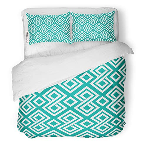 Semtomn Decor Duvet Cover Set Twin Size Vintage Classic Greek Pattern Teal African Border Digital Endless 3 Piece Brushed Microfiber Fabric Print Bedding Set Cover ()