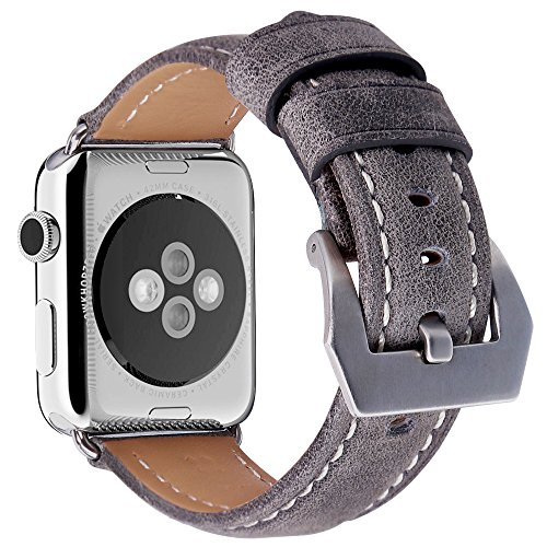 Apple Watch Bands, Genuine Leather 42mm Strap with Stainless Metal Buckle Fit for Men/Women's Apple Watch Series 3, Series 2, Series 1 & Sport & Edition (grey)