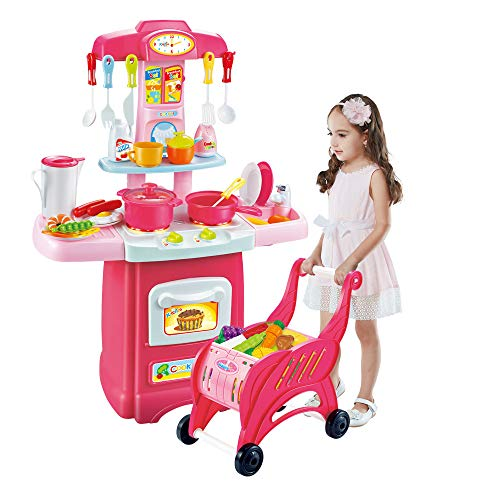 - Children's Toys Electronic Kitchen Set, Kids Kitchen Playset and Shopping Cart Chess Set Kitchen Cooking Set Toddler Gift Toy/Lights Sound (Multicolor, 55x13x39cm / 21.65x5.11x15.35in)