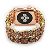 Juzzhou Band For Apple Watch iWatch Series 1/2/3 Sport Edition Style Elastic Stretch Woman Girl Bracelet Replacement Faux Pearl Jewels Wrist Strap Wriststrap With Stainless Steel Adapter Pink 38mm