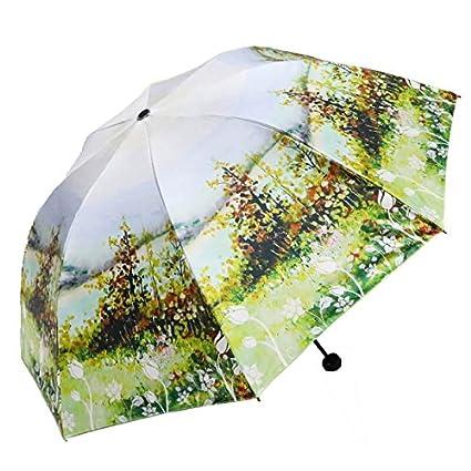 Paraguas plegable automatico Mujer niño Hombre an- Retro Three Fold Anti-UV - Paraguas
