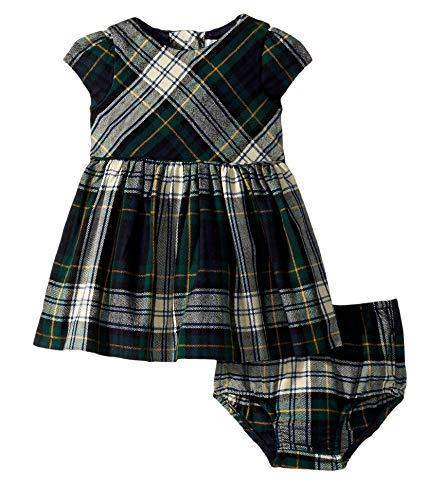 RALPH LAUREN Baby Girls Plaid Tartan Fit and Flare Flannel Dress & Bloomer Set (9 Months)