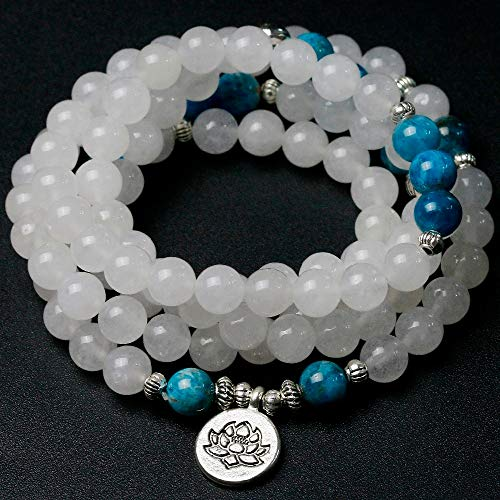 - Natural White Chalcedony with Apatite Stone Beads Bracelets | Unisex Wing Buddha Yoga Lotus Charm Necklaces | Unisex Jewelry