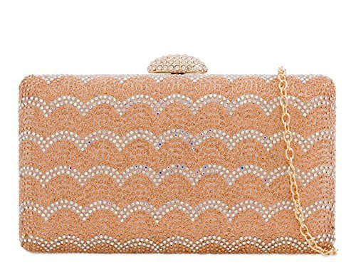 Champagne Hard Patterned Diamante Evening Bag Compact Bridal Clutch Ladies 158PqR5