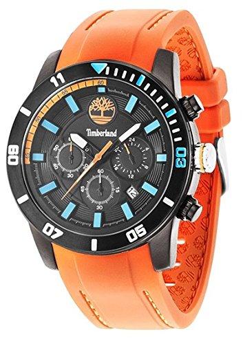 227c94683108 Timberland Alden de cuarzo reloj de pulsera para hombre de color negro  esfera analógica y naranja de correa de silicona tbl.14524jsb 02 P   Amazon.es  ...