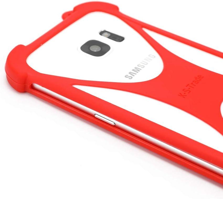K-S-Trade/® Pare-Chocs pour Ulefone Armor 6E Silicone Bumper T/él/éphone Portable Protection Housse Casque TPU Softcase Protecteur Rouge 1x