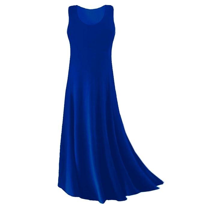 Plus Size Tank Maxi Dress Royal Blue Princess Cut Supersize Slinky