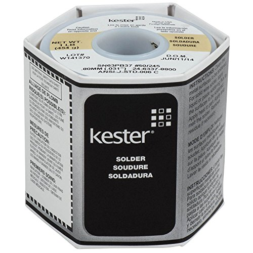 """Kester 24-6337-8800 50 Activated Rosin Cored Wire Solder Roll, 245 No-Clean, 63/37 Alloy, 0.031"""" Diameter"""