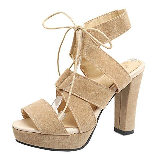AIYOUMEI Damen Offen Wildleder Römersandalen mit Schnürung Blockabsatz High Heels Modern Schuhe Aprikose