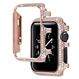 For Apple Watch Case 42mm, Universal Women Girls Ladies Diamond Bling Glitter Metal Smart Watch Face Case Frame Cover Protective Bumper Shell Watch Case for 42mm Apple iWatch Series 1/2/3 - Rose Gold
