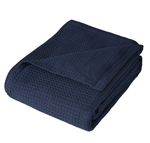 PH Single Piece Hotel Woven Cotton Throw Blanket, 108 inches Wide x 90 inches Long, Traditional Style, 100-Percent Cotton, Navy, Self-Binding Edges, Solid Color Pattern, Blue