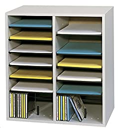 Safco Products 9422GR Wood Adjustable Literature Organizer, 16 Compartment, Gray