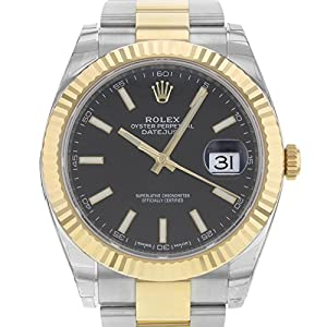 Rolex Datejust 41 Stainless Steel & 18K Yellow Gold Oyster Watch Black Dial 126333