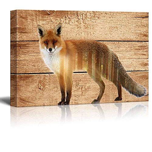 """Gogobebe Double Exposure Rustic Canvas Wall Art - Fox in The Wild on Vintage Wood Background - Giclee Print Modern Wall Decor 