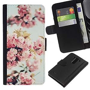 WINCASE Cuadro Funda Voltear Cuero Ranura Tarjetas TPU Carcasas Protectora Cover Case Para LG G3 - manzana árbol de flor de la naturaleza de primavera florecen