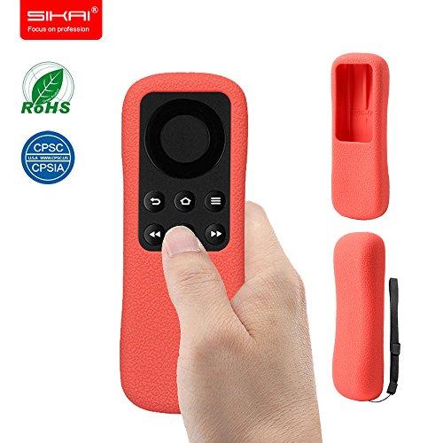 Amazon FBA Amazon Fire TV Srick Remote Case SIKAI Patent Clear, Non-Slip, Easy-to-grip, Silicone Case For Amazon Fire TV Stick Protector Case with hand strap [Red]