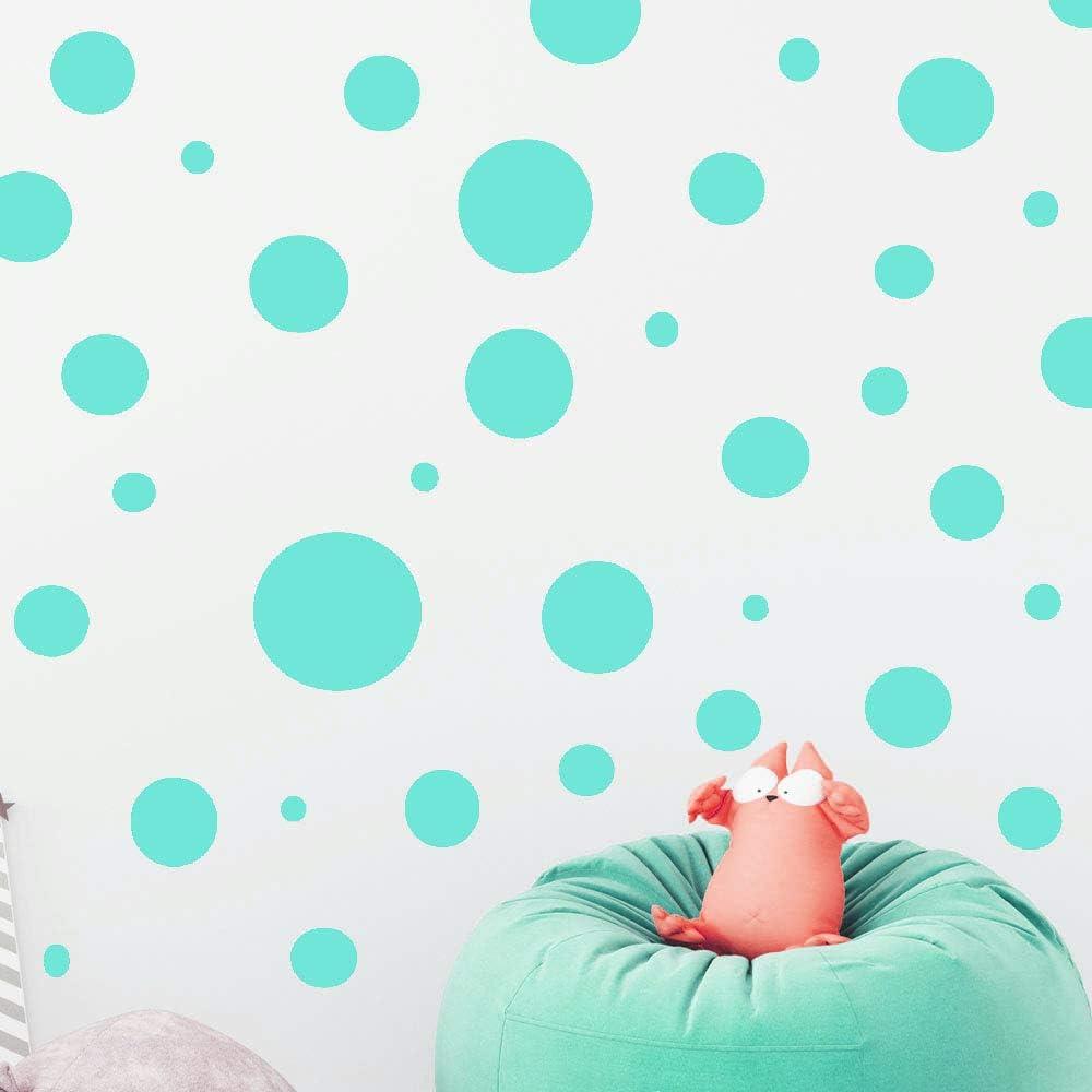 Create-A-Mural Polka Dot Wall Stickers, Wall Decor Stickers, Wall Dots, Vinyl Circle Room Dot Decals (Mint)