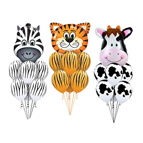 (Jungle Animal Print Safari Balloons 21pcs/Set Animal Party Tiger Zebra Cow Animal Air Helium Latex Balloon for Kids Gift Birthday Party Decor Animal Zoo Theme)