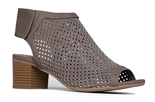 J. Adams Maddie Cutout Bootie - Adjustable Band Slip On Low Stacked Heel Shoes, Taupe Nbpu, 11