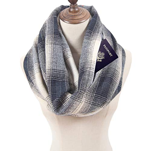 MissShorthair Plaid Infinity Scarfs for Women with Zipper Pocket, Check Pattern Travel Scarf (SIZE: 35.4