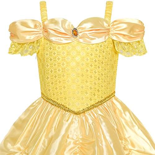 Girls Dress Yellow Princess Belle Costume Birthday Party Size 6 by Sunny Fashion (Image #3)