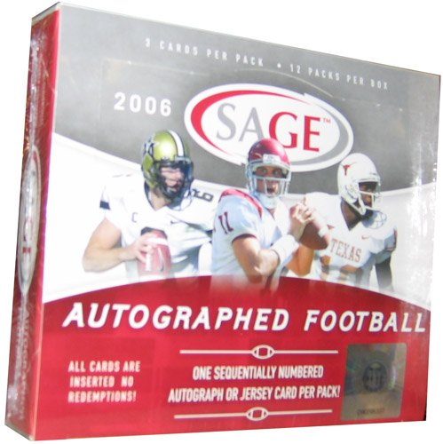 Sage Autograph Football Hobby Box (2006 Sage Autograph Football HOBBY Box - 12P)
