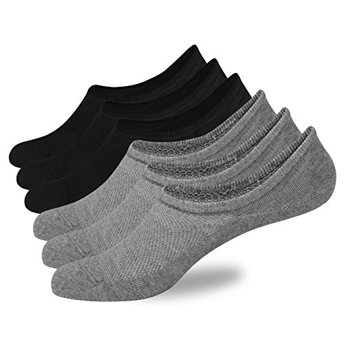- No Show Socks Mens 6 Pack of Low Cut Socks Non-Slip Grips with Mesh Casual Cotton Thin Flat Boat Liner Sock