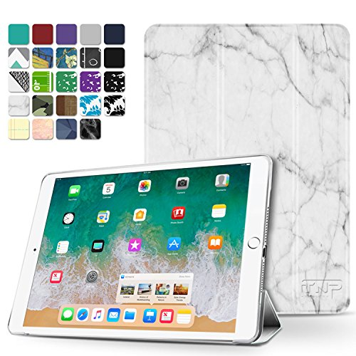 TNP iPad Pro 9.7 / Air 2 Case - Slim Lightweight Shell Smart Cover Stand, Hard Back Protection with Auto Sleep Wake for Apple iPad Pro 9.7 / Air 2 (Marble White) (Ipad Mini 2 Size Vs Ipad Mini 4)
