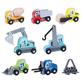 LOKUO Wooden Construction Vehicles Toy Set(7-Pcs), Miniature Wooden Toy Cars for Toddlers (3-Years-Old & Up),Compatible to Thomas Train Toys Railway and Major Brands