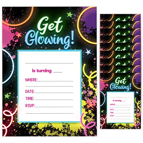 Glow In The Dark Invites (Neon Happy Birthday Invitations Invite Cards (10 Count) With Envelopes Boys Girls Kids Party)