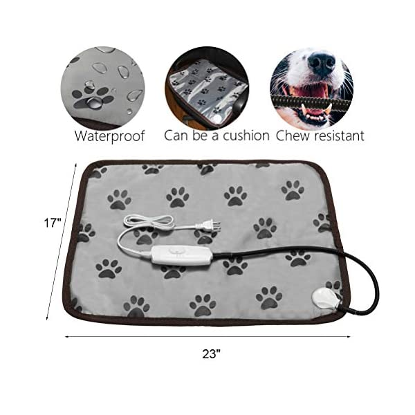 PUPTECK Pet Heating Pad - Dog Cat Electric Heated Pads - Waterproof & Chew Resistant Mat for Indoor Grey 2