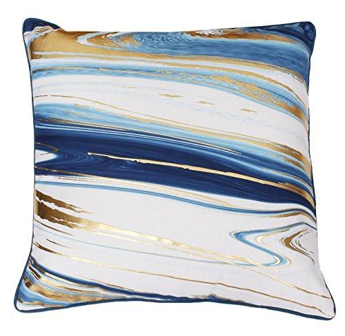 Thro by Marlo Lorenz Dragonfly Blue Gold Kia Marble Raised Foil Pillow