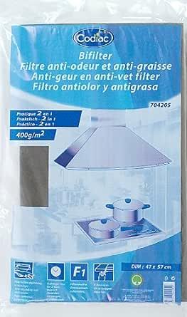 Codiac - 704205 - campana 2 Filtro antigrasa 1 y Anti-Olor 300 G / M² 47X57cm: Amazon.es: Grandes electrodomésticos