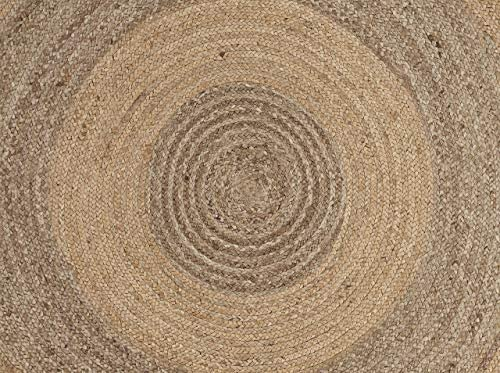 LR Resources Jute LR12032-NGY40RD Natural/Gray Round X 4 ft Indoor Area Rug