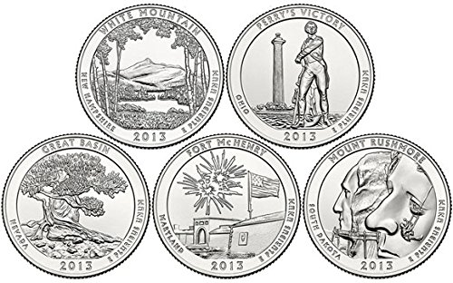2013 D Complete Set of 5 National Park Quarters Uncirculated