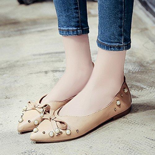 RUGAI-UE Verano boca superficial Pearl zapatos planos zapatos arco Beige