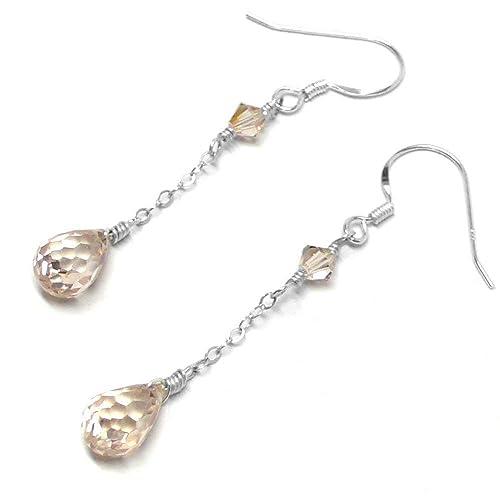 1a58b0464 Amazon.com: Champagne CZ Briolette Sterling Silver Swarovski Crystal Chain Dangle  Earrings: Handmade