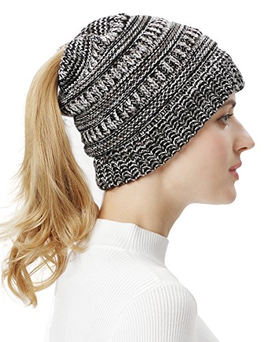 Lovful Womens Winter Cable Knit Warm Ponytail Beanie Hat