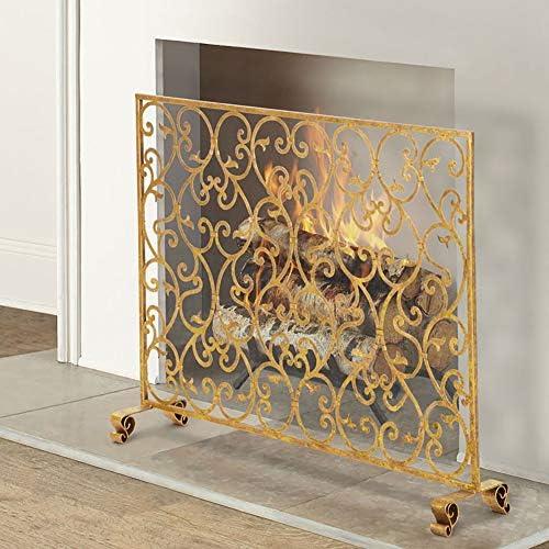 暖炉スクリーン MYL 無料立ちフラット暖炉安全消防画面スパークフレイムガード、ヘビーデューティメタルメッシュ、渦巻き装飾、97×21×78センチメートル (Color : Black, Size : 97×21×78cm)