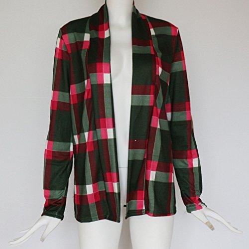 Oscuro de larga Mujeres Verde de manga algodón A resorte COMVIP del cuadros aXRtPnxdw