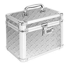 Vaultz Locking Garage Box, 10 x 7.75 x 7.25 Inches, Silver Treadplate (VZ00715)