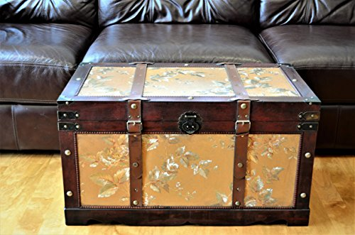 Cedar Set Coffee Table - Styled Shopping Gold Leaves Wood Storage Trunk Wooden Treasure Chest Set of 2