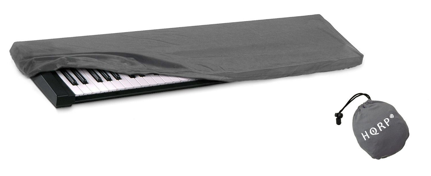 HQRP Elastic Dust Cover w/ Bag (Gray) for Yamaha P-115 / P115 / P-115B / P115B / P-115WH / P115WH Electronic Keyboard Digital Piano + HQRP Coaster 887774703091645